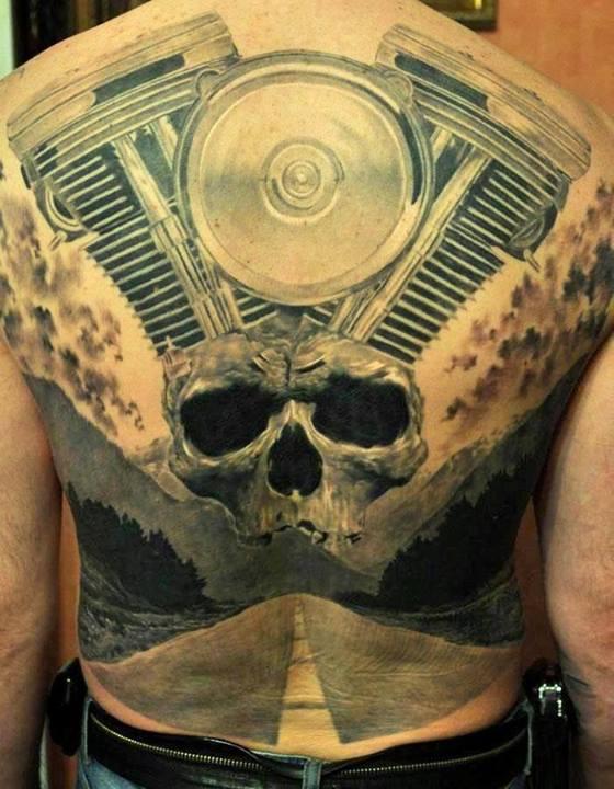 cb1511eba Incredible 3D Skull And Mechanical Tattoo On Full Back