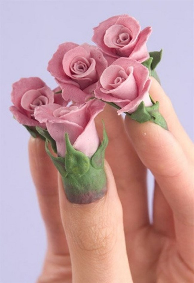 70 most beautiful 3d nail art design ideas for trendy girls incredible 3d rose flowers nail art prinsesfo Choice Image