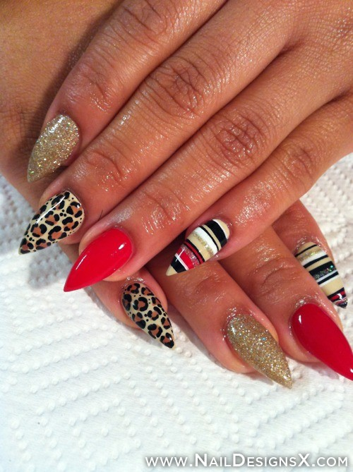 Leopard Print Glitter And Stripes Design Stiletto Nail Art