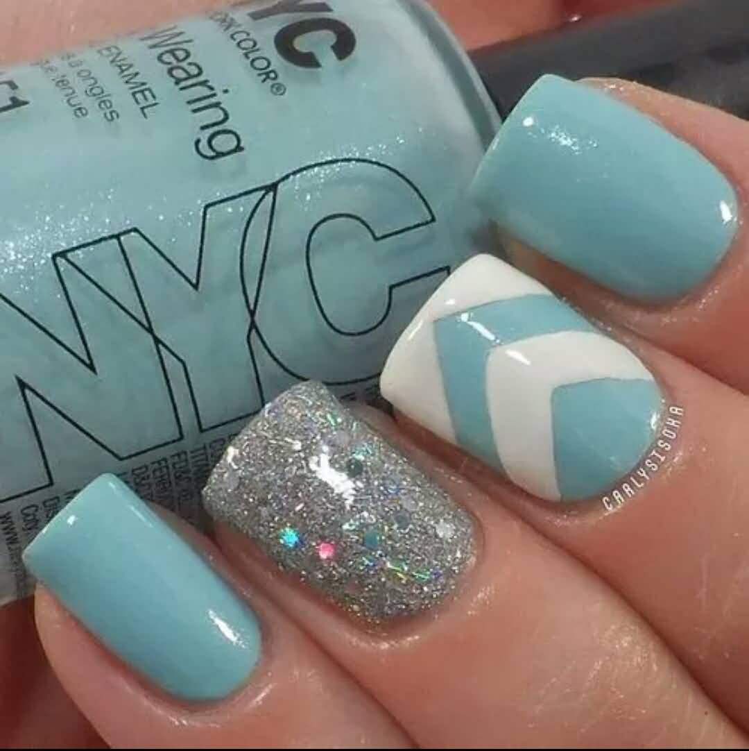 Nail Art Blue Glitter: 65 Most Stylish Light Blue Nail Art Designs