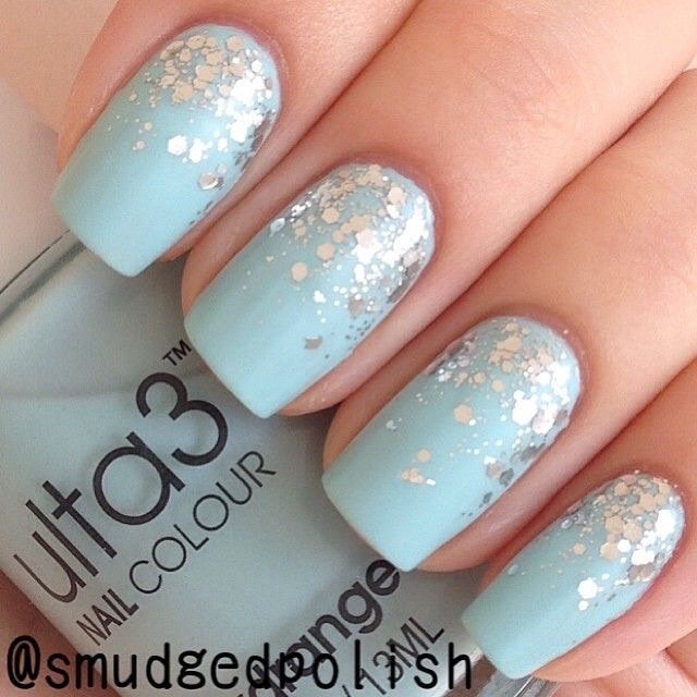 Light Blue Nails With Glitter Design Idea