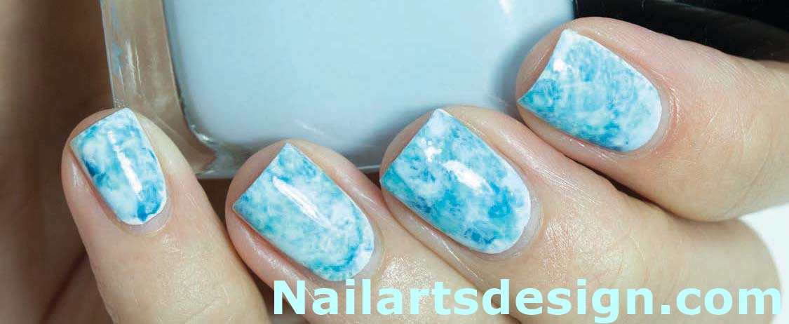 Light Blue Water Marble Nail Art
