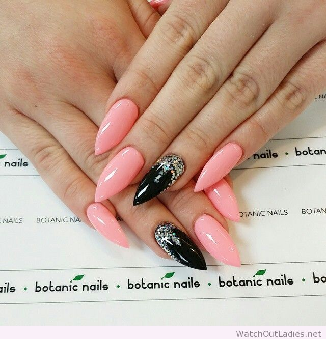 57 Most Beautiful Glitter Nail Art Design Ideas: 57+ Most Beautiful Stiletto Nail Art Design Ideas