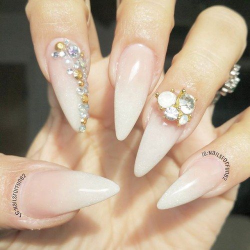 Light Pink And White Ombre Nails With Rhinestones Design Stiletto