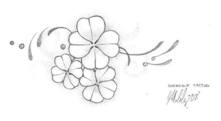 lovely black and white four leaf shamrock leaves tattoo design by artaddict. Black Bedroom Furniture Sets. Home Design Ideas