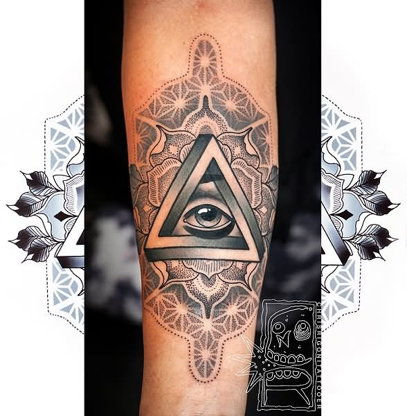 30 Triangle Eye Forearm Tattoos