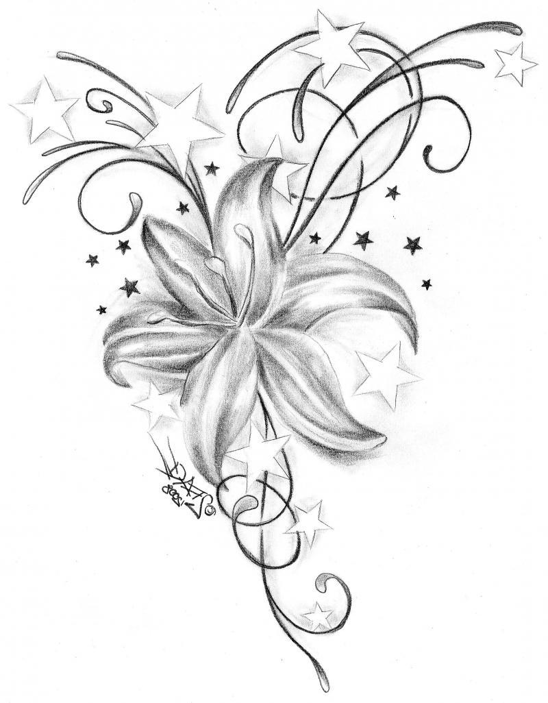 f2d0f2e3d315e Lovely Iris Flower And Stars Tattoo Design