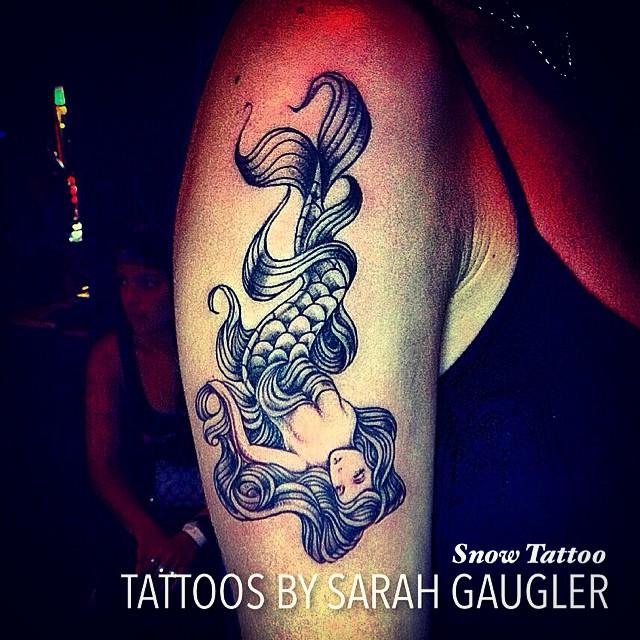 Lovely Sea Creature Mermaid Tattoo On Right Half Sleeve By