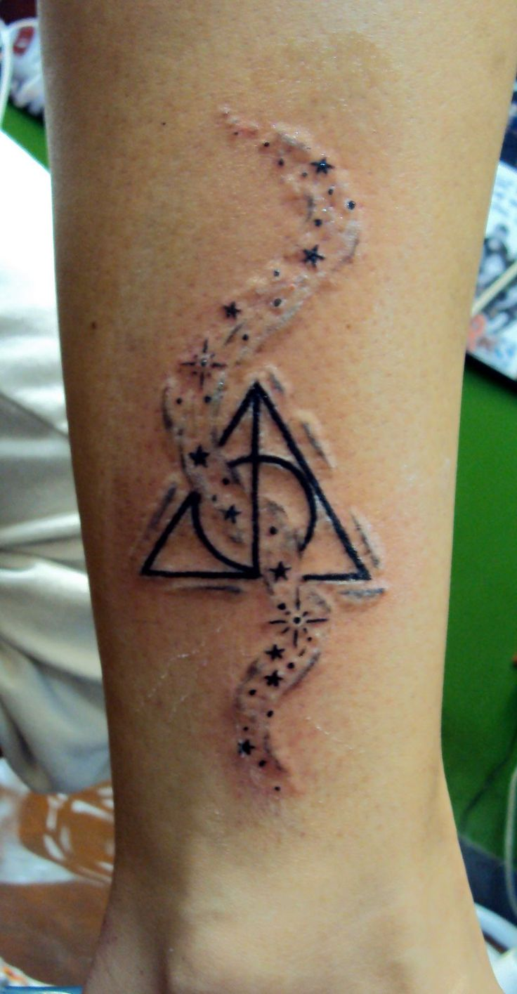 28 incredible hallows tattoos for Star tattoos on leg