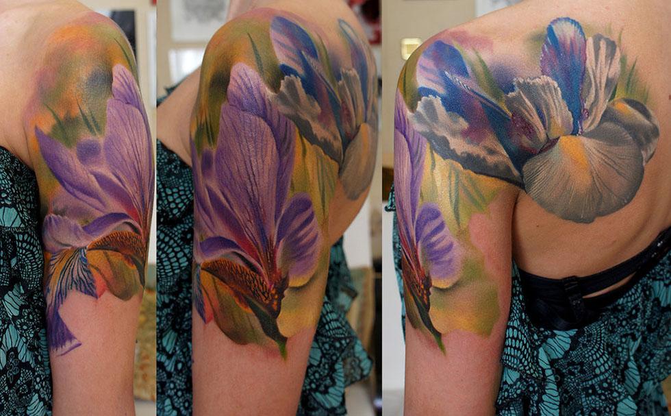 12 iris watercolor flowers tattoos. Black Bedroom Furniture Sets. Home Design Ideas