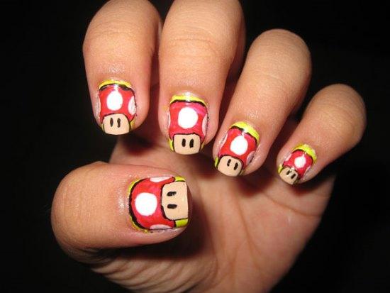 Mario Mushroom Cartoon Nail Art Design