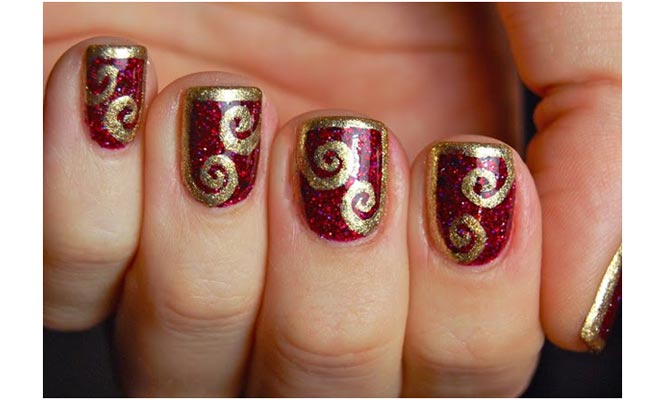 52 classic glitter nail art design ideas for trendy girls maroon nails with gold glitter spiral design nail art prinsesfo Images