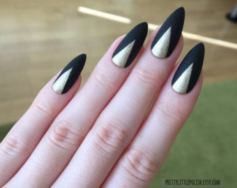 Matte Black And Gold Stiletto Nail Art