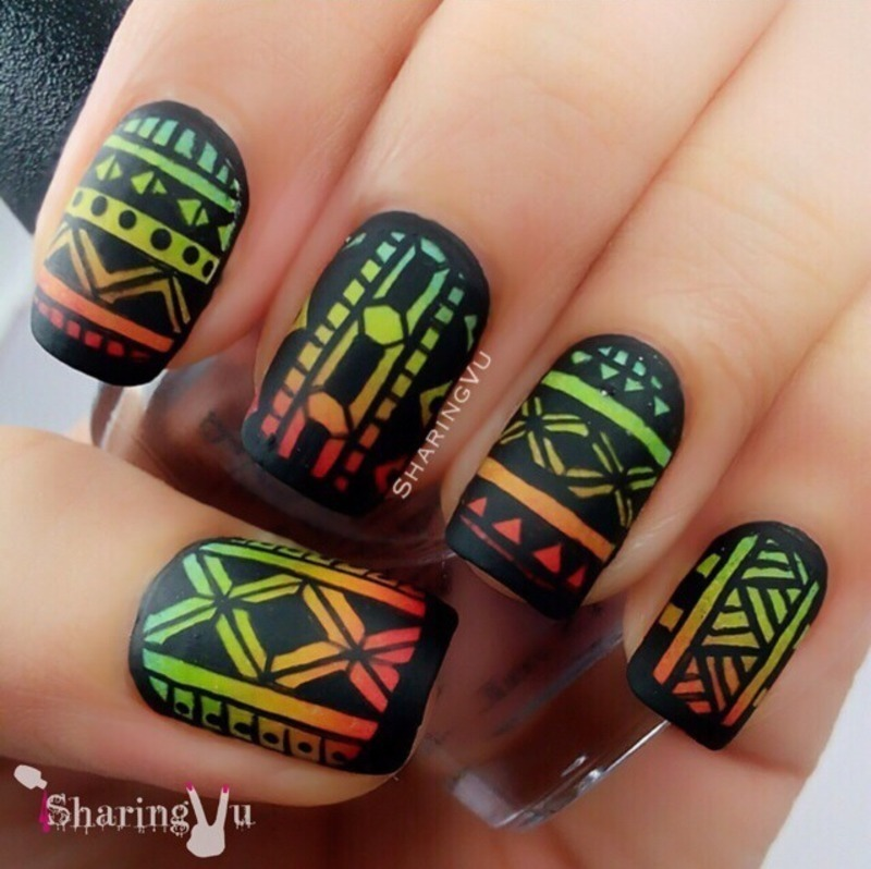 Matte Black Nails With Ombre Tribal Design Nail Art - 65+ Cool Tribal Nail Art Designs