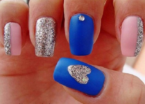 Matte Blue Nails With Silver Heart And Pink Nail Art