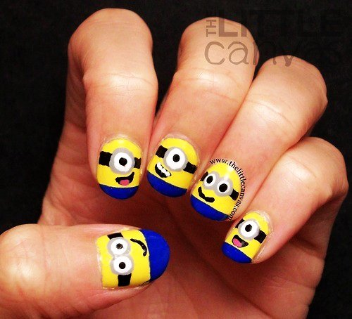 Minions Cartoon Nail Art Design Idea - Cartoon Nail Art - Askideas.com