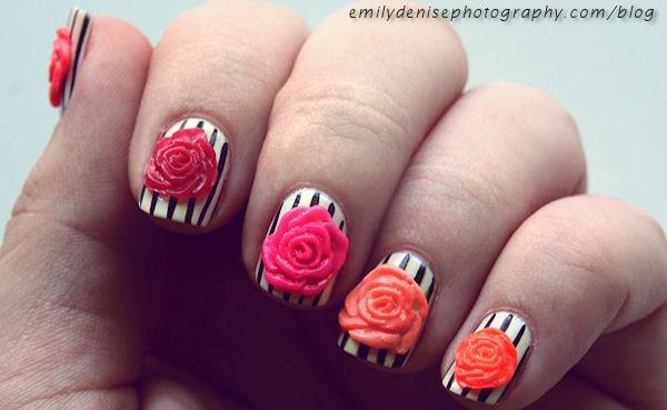 35 Best 3d Rose Flowers Nail Art Design Ideas