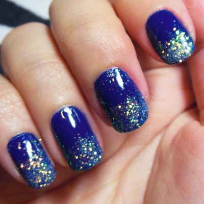 Blue Nails With Glitter Tips Hession Hairdressing