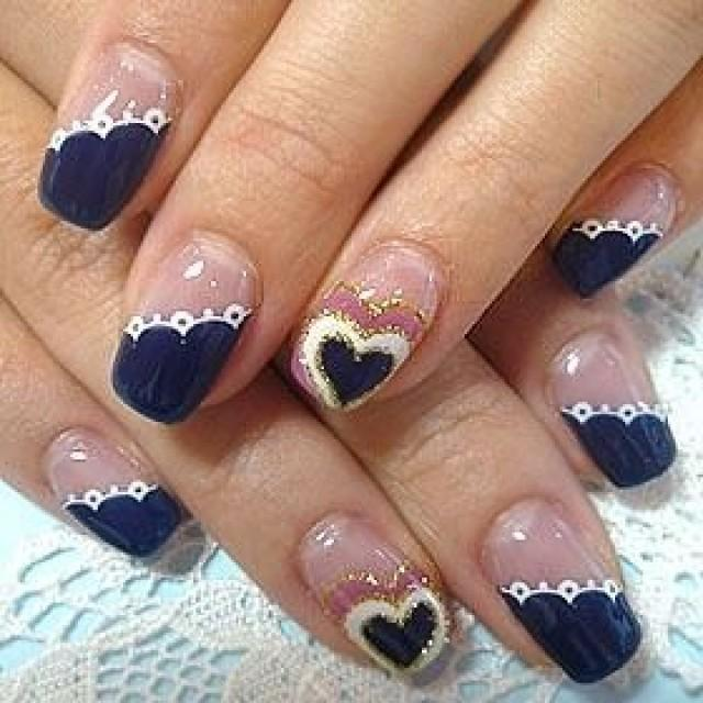 Navy Blue With White Nails Heart And Lace Design Idea