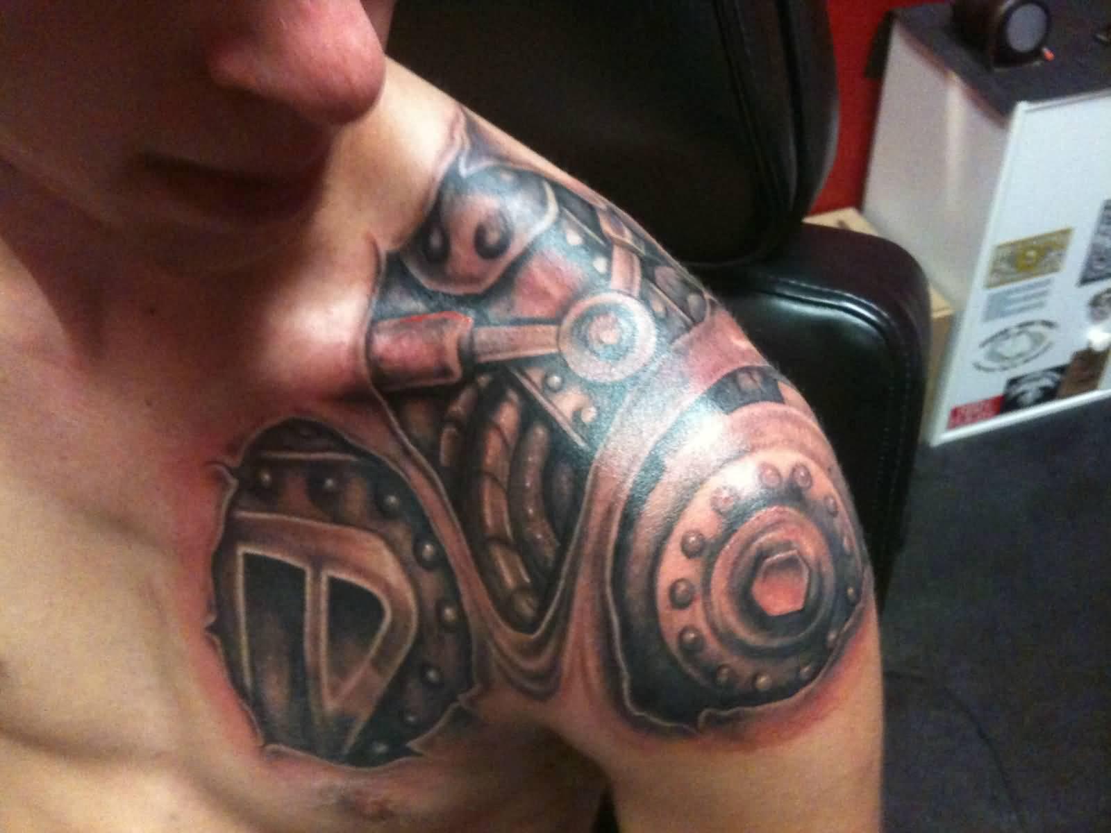 41 Mechanical Tattoos On Shoulder