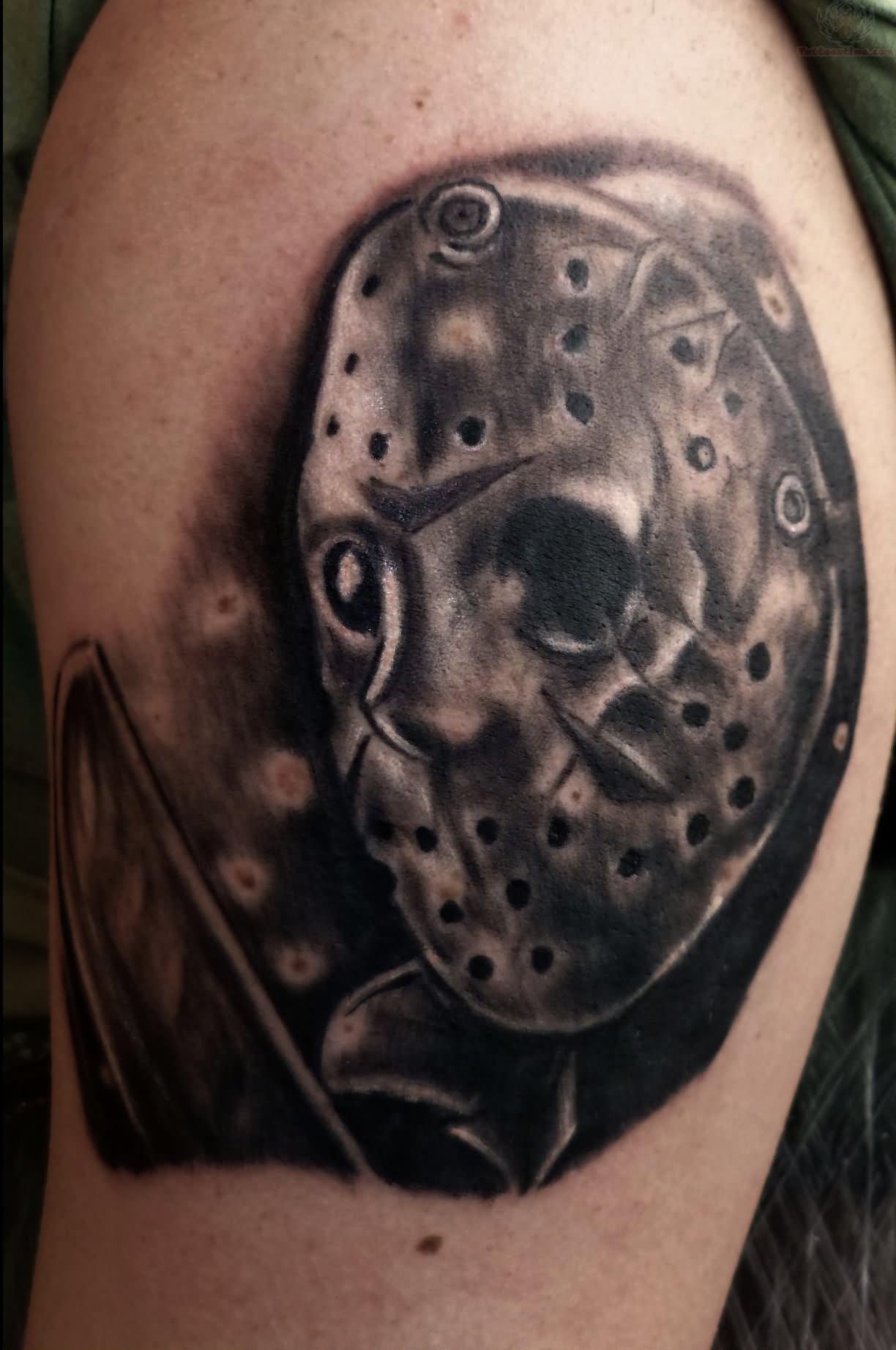 black ink jason mask with freddy glove tattoo on right shoulder. Black Bedroom Furniture Sets. Home Design Ideas