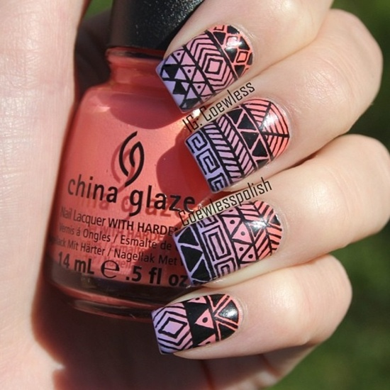 Ombre Tribal Nail Art Design Idea