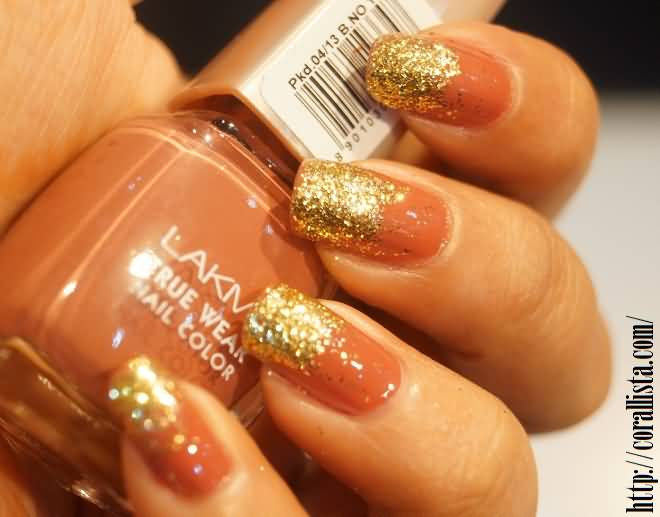 Image result for orange glitter nails