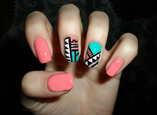 Tribal nail art design tutorial peach blue and white tribal design nail art prinsesfo Image collections