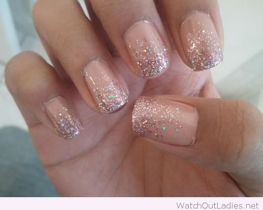 Peach Glitter Nail Art Design