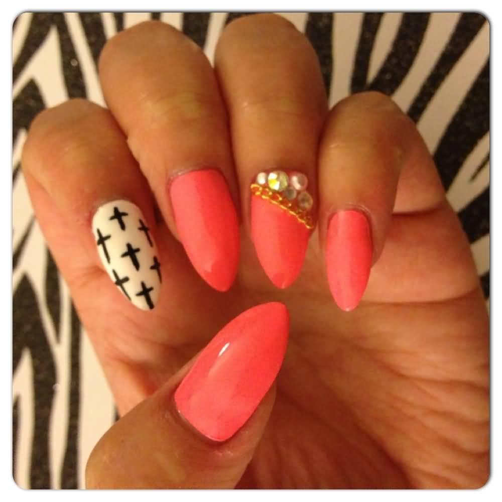 Black White Pink Nail Art Designs: 61 Latest Stiletto Nail Art Design Ideas For Teen Girls
