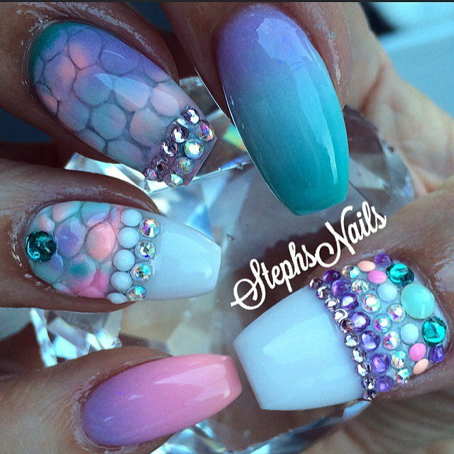 Pink And Blue Amazing Nail Art Ideas