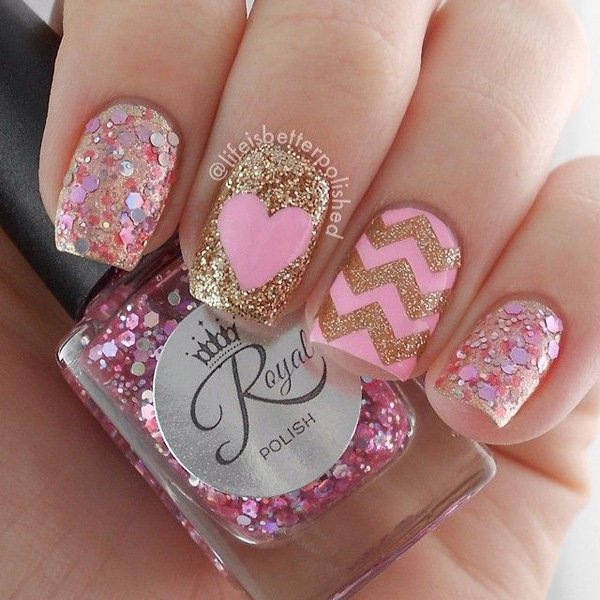 - Pink And Gold Glitter Heart And Chevron Design Nail Art
