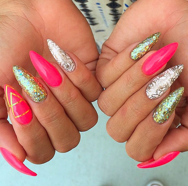 60 most beautiful glitter nail art ideas pink and gold glitter with rose flower design prinsesfo Choice Image
