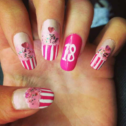 30 most adorable birthday nail art designs pink and white stripes birthday cupcakes with accent 18 number nail art prinsesfo Image collections