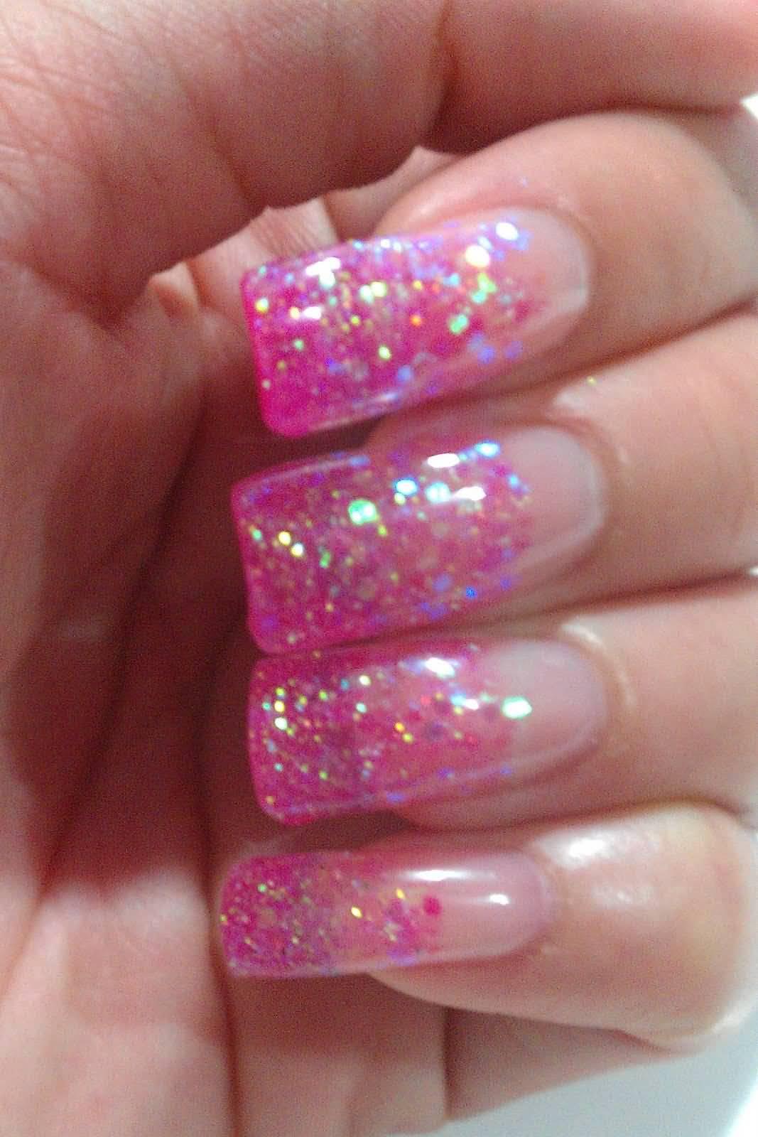 52 classic glitter nail art design ideas for trendy girls pink glitter gel nail art design idea prinsesfo Choice Image