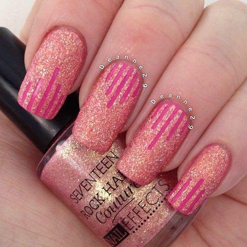 Pink Glitter With Stripes Design Nail Art - 65 Most Beautiful Glitter Nail Art Designs