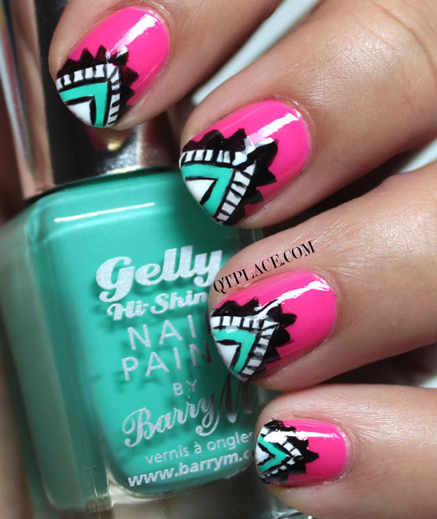 65 cool tribal nail art designs pink nails with green tip tribal nail art prinsesfo Images