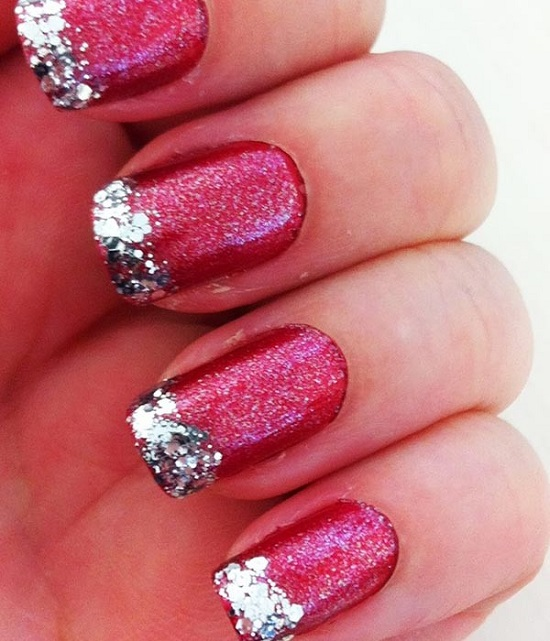 26 Red And Silver Glitter Nail Art Designs Ideas: 57 Most Beautiful Glitter Nail Art Design Ideas
