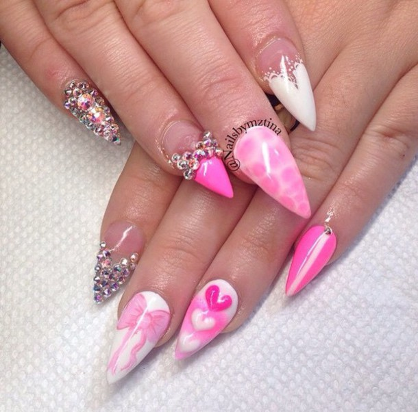 60 most beautiful stiletto nail art designs ideas for teen girls pink stiletto nail art with rhinestones design and hearts prinsesfo Gallery