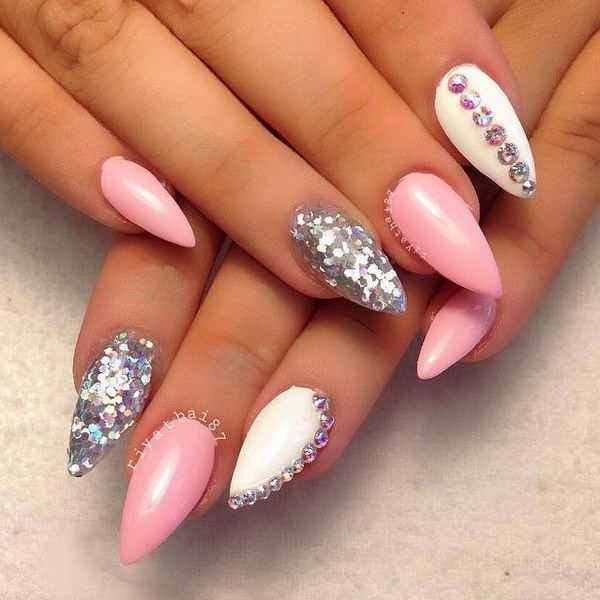 Pink White And Silver Studded Stiletto Nail Art Design