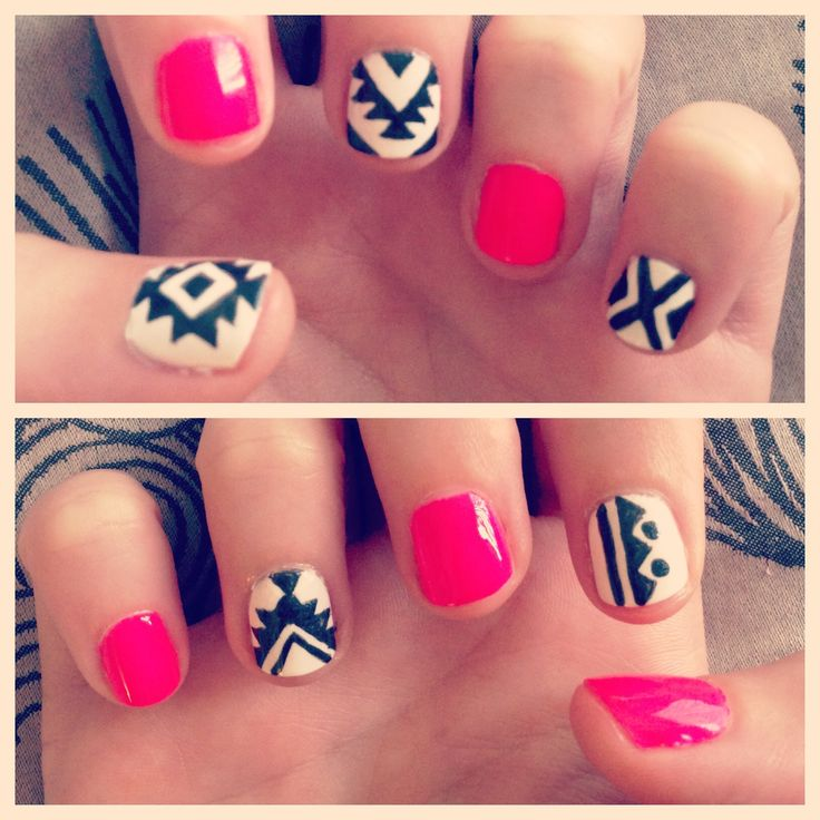 50 best tribal nail art design ideas pink with black and white tribal nail art prinsesfo Gallery