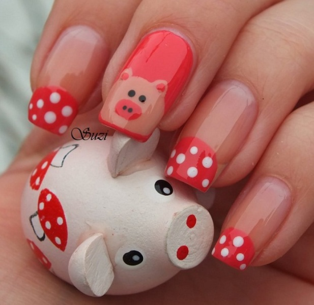 Cute Pig Nail Art Designs : Most beautiful cartoon nail art design ideas