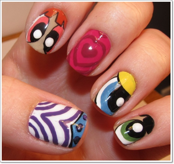 Power Puff Girls Cartoon Nail Art Design
