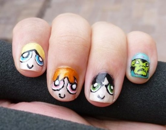 - Power Puff Girls Cartoon Nail Art For Short Nails