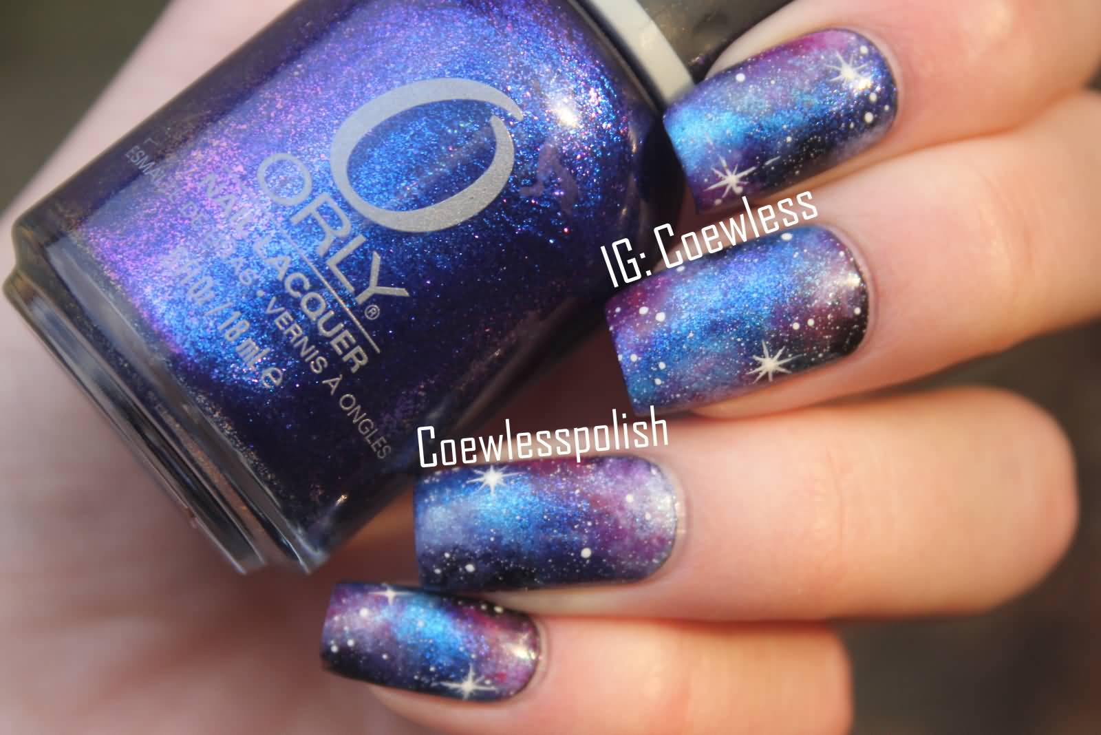 Purple, Blue And Black Galaxy Nail Art
