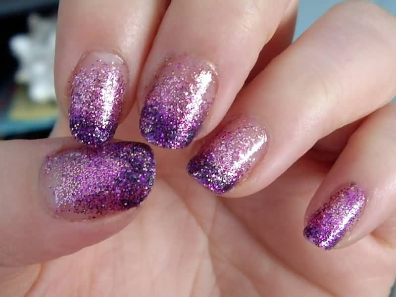 65 most beautiful glitter nail art designs purple glitter tip nail art design idea prinsesfo Images