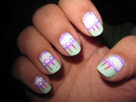Purple Lace Design And Cupcake With Candles Birthday Nail Art - 50 Best Birthday Nail Art Designs