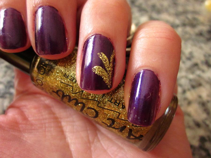Purple Nails With Gold Glitter Flower Nail Art Idea - 52+ Classic Glitter Nail Art Design Ideas For Trendy Girls