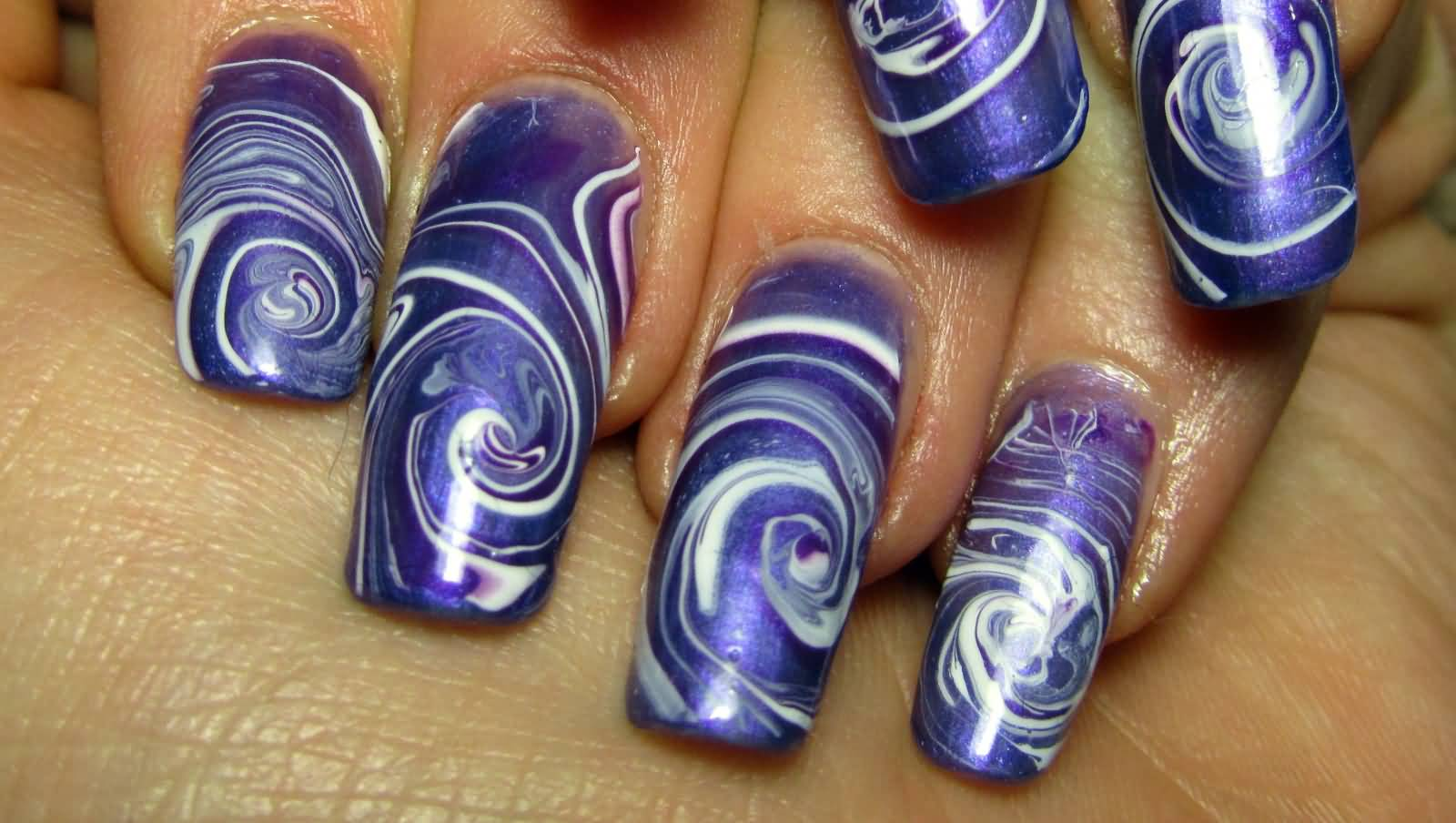 Purple Spiral Water Marble Nail Art