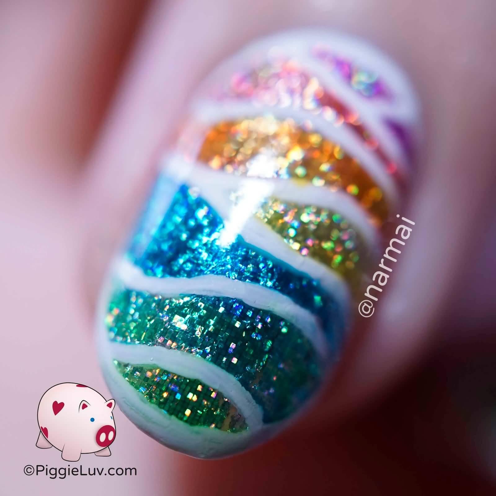 Rainbow Glitter Stripes Design Nail Art